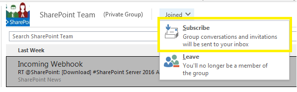 Receive Office 365 Group conversations/emails in personal